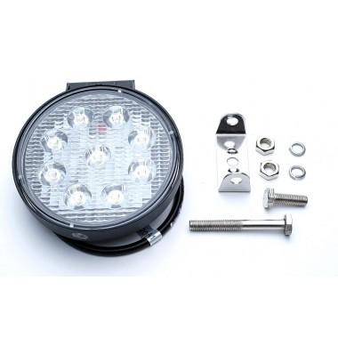 Фара LED противотуманная круглая светодиодная (9 диодов)12/24V; 27W, KS-WR009F для трактора